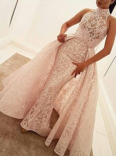 Mermaid High Neck Court Train Detachable Light Pink Lace Prom Dress