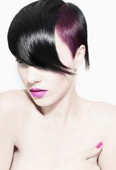 Pep up your black hair with a hint of purple.