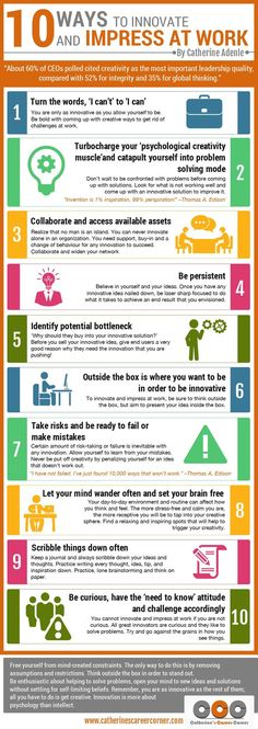 10 Ways to Innovate and Impress at Work (Infographic) Need to shine at work? Explore the Infographic on 10 ways to innovate and impress at work. It showcases 10 sure ways for you to innovate and impress at work Career Development, Professional Development, Personal Development, Professional Etiquette, Professional Resume, Global Thinking, Amélioration Continue, Coaching Personal, Personal Trainer