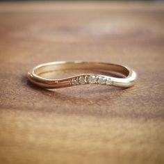 💎NEW💎 14K Gold Curvy Diamond Band, Contour Band, Curved Wedding Band, Diamond Wedding Ring
