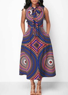 Sleeveless Printed Pocket Bowknot Neck Dress – African Fashion Dresses - African Styles for Ladies African Fashion Designers, African Inspired Fashion, African Print Fashion, Africa Fashion, African Fashion Traditional, African Print Dresses, African Fashion Dresses, African Dress, Ankara Fashion