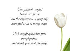 Sample Funeral Thank You Cards