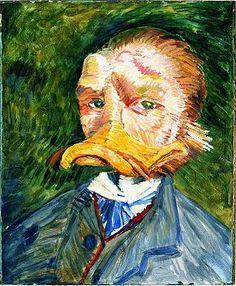 Vincent van Dugh litt zeitlebens an tiefen Depressionen und einem Zustand, den man heute als bipolare Störung bezeichnet. In seinen schizophrenen Wahnvorstellungen portraitierte er sich mal als Maus, mal als Ente.