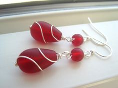 Red Sea Glass Earrings   Wire Wrapped Earrings  by Sparkleandswirl