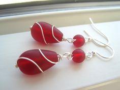 Red Sea Glass Earrings   Wire Wrapped Earrings  by Sparkleandswirl