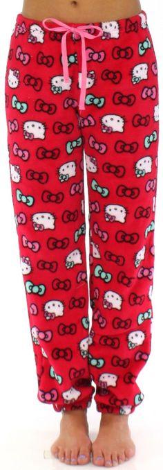 Hello Kitty Women's Plush Fleece Cuffed Jogger Pajama Pant