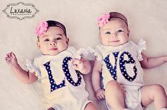 Twin Matching LOVE Bodysuits for Twin Girls with Shabby Chic Pink Rhinestone Headbands - Matching Twin Outfits for Baby Girls by RightUpYourAli1 on Etsy