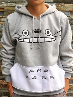 Kapuzen-Sweatshirt mit Cartoon Muster-grau- German SheIn(Sheinside)
