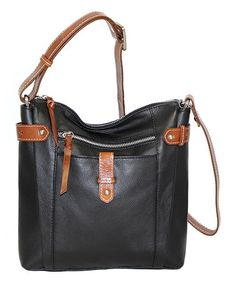 Love this Black Jasmine Bloom Leather Crossbody on #zulily! #zulilyfinds