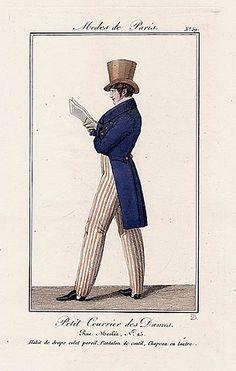 Petit Courrier des Dames 1822 Modes de Paris N°59 Dandy, A. Delvaux Engraver.  http://hprints.com