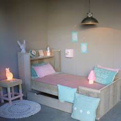 Girls room in blue pink and mint Baby Bedroom, Girls Bedroom, Casa Kids, Deco Kids, Princess Room, Little Girl Rooms, Kid Beds, My New Room, Kids House