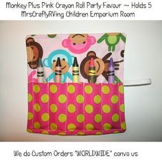 Monkey Plus Pink Crayon Roll Party Favour by MrsCraftyRVing, $2.00