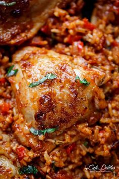 One Pan Tomato Basil Chicken & Rice - Cafe Delites Chicken Rice Bake, Chicken Rice Recipes, One Pan Chicken, Crispy Chicken, Sauce Recipes, Cooking Recipes, Easy Recipes, Pan Cooking, Skillet Recipes
