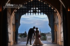 There's nothing quite like a sweeping view of Disney's Magic Kingdom for a wedding photo backdrop #Disney #wedding #MagicKingdom