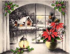 Glowing Christmas window scene.