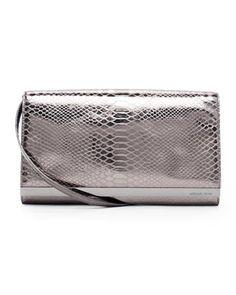 MICHAEL Michael Kors  Large Tilda Python-Embossed Clutch Bag. $248