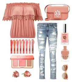 """Peaches"" by im-karla-with-a-k ❤ liked on Polyvore featuring rag & bone/JEAN, Miss Selfridge, Linda Farrow, Kate Spade, Too Faced Cosmetics and Alexander McQueen"