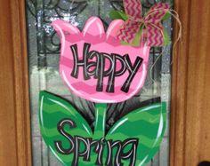 Spring Spring door hanger Tulip Door Hanger by DoorCreationsbyJess Burlap Crafts, Wreath Crafts, Wooden Crafts, Diy Crafts, Spring Door, Spring Sign, Painting Burlap, Burlap Door Hangers, Wooden Cutouts