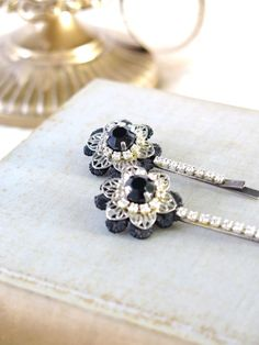 Black Hair Pin  crystal hair pin  Weddings by Unconventionalbrides