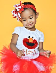 Elmo shirt for little girls -- fuzzy Elmo shirt -- perfect for Elmo birthday parties and shows