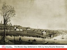 This panorama landscape depicts the Moreton Bay Settlement in The viewpoint is from South Brisbane. Brisbane, Sydney, Historical Photos, Ancestry, Family History, Old Photos, Death, Australia, Dance