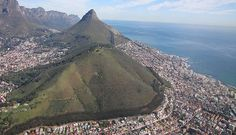 Aerial side view of Lions Head Mountain, Cape Town