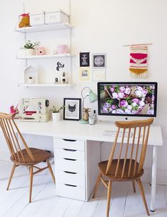 A white desk + ikea hack with cute tapestry and file cabinet, would LOVE to be able to do that!