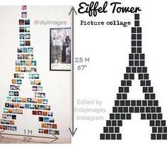 Painel de fotos da Torre Eiffel