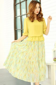 Vintage 3/4 Sleeve Chiffon Dress