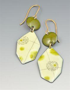 """Yuragi Six-sided Earrings""  Gold & Enamel Earrings  by Reiko Miyagi  $ 125"