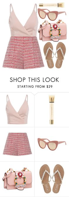 """""""Sugar"""" by smartbuyglasses-uk ❤ liked on Polyvore featuring Yves Saint Laurent, Alexis, STELLA McCARTNEY, Miu Miu, M&Co and Pink"""