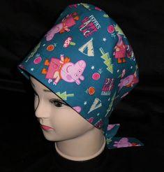 b82752cf35e Pediatric Nurses Peppa Pig Scrub Hats Pixie Tie Back Women Surgical Scrubs  Scrub Caps Ladies Hat Handmade From Licensed Fabric