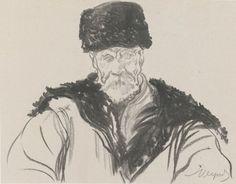 Chłop stary w baraniej czapie - Leon Wyczółkowski
