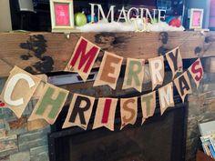 Merry Christmas Burlap Banner  by ShonnaRidgeway on Etsy, $35.00