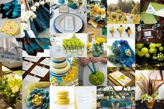 Teal Wedding Decorations | Inspiration: chartreuse, teal, brown, and yellow! |