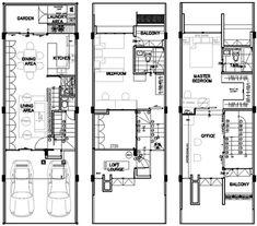 แปลนบ้าน อาคารพาณิชย์ ตึกแถว 3 ชั้นครึ่ง ฟรี Autocad Layout, Tiny Living, Hostel, Home Office, Townhouse, House Plans, Floor Plans, House Design, How To Plan