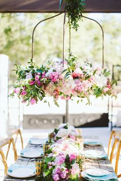 Whimsical + outdoor wedding reception decor - hanging, pink + white floral chandelier {The Flower Girl} Outdoor Wedding Reception, Wedding Reception Decorations, Wedding Table, Table Decorations, Garden Wedding, Garden Decorations, Reception Seating, Summer Wedding, Decor Wedding