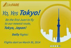 By the end of March next year, Cebu Pacific will give rise to flights going to the Land of the Rising Sun. Starting March 31, 2014, the aviation company of Cebu Air Incorporated will start to conduct flights from the Ninoy Aquino International Airport Terminal 3 to Nagoya and Tokyo (Narita) in Japan. The Manila-Nagoya flights will be conducted four times a week while the Manila-Tokyo trips will be offered daily.