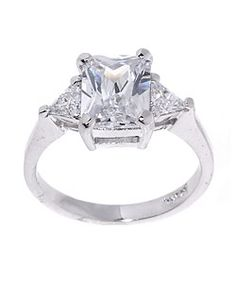 Icz Stonez Sterling Silver Radiant-cut CZ Ring | Overstock™ Shopping - Big Discounts on ICZ Stonez Cubic Zirconia Rings