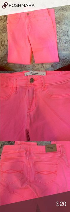 "Abercrombie & Fitch Skinny Jeans Neon pink color - 67% cotton, 19% viscose, 13%  polyester, 1% elastane - 13.5"" waist, 24.5"" inseam, 8"" rise Abercrombie & Fitch Jeans Skinny"