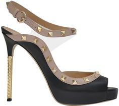 Valentino Rockstud Sandal in Leather and Pvc in Black