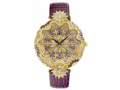 Adee Kaye Beverly Hills Ladies Multicolor Crystal Gold Tone Purple Str
