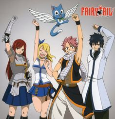 Erza, Lucy, Happy, Natsu & Grey of FairyTail. I watch an episode during each of my workouts.