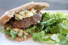 gingersnaps: lamb burgers with feta, pine nuts, and mint Lamb Burgers, Ginger Snaps, Feta, Food Photography, Sandwiches, Appetizers, Mint, Dinner, Ethnic Recipes
