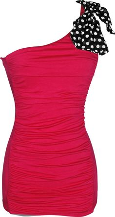 Amazon.com: One Shoulder Ruched Top with Polkadot Bow: Clothing