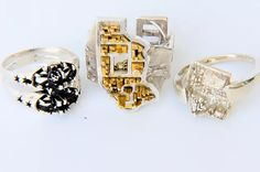 City inspired jewelry. Chess rings. Jekipp displays Custom rings and necklaces. 3d printing jewelry education guide.
