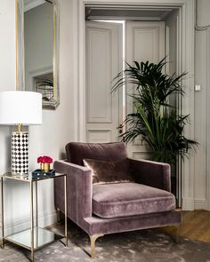"Bonham chair in colour ""Huckleberry"" and Fleur side table✨ photo @henriknero"