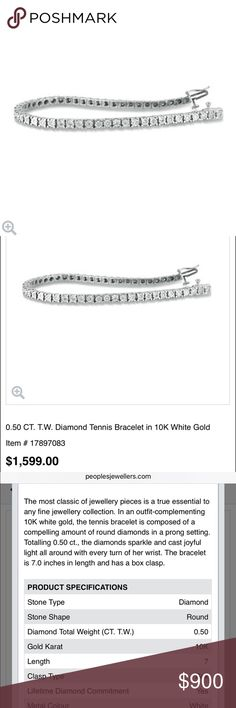 White Gold and Diamond Tennis Bracelet Gorgeous 10k white gold tennis bracelet with a total weight of 0.50ct real diamonds! It is a heavy, very high quality bracelet, with security clasp. It is in excellent condition, like new, rarely worn. The diamonds are of exceptional quality and look stunning! Only parting with this as it was from an ex. Retail is $1599. I do not have the paperwork for it, but can get an appraisal for serious buyers People's Jewelers Jewelry Bracelets