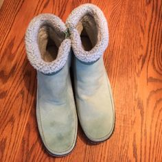Suede minty green boots Suede boots.  I think worn once Lands' End Shoes Ankle Boots & Booties