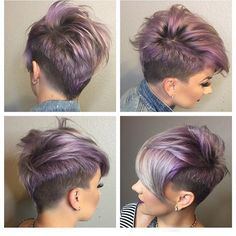 Beautiful crop cut and lilac and silver color melt by @katiezimbalisalon Model @beautybylena916 #hotonbeauty